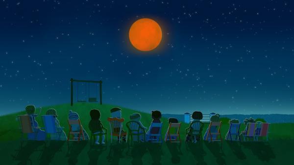 Die gesamte Nachbarschaft ist versammelt für das besondere Ereignis am Sternenhimmel. | Rechte: KiKA/Geronimo Productions
