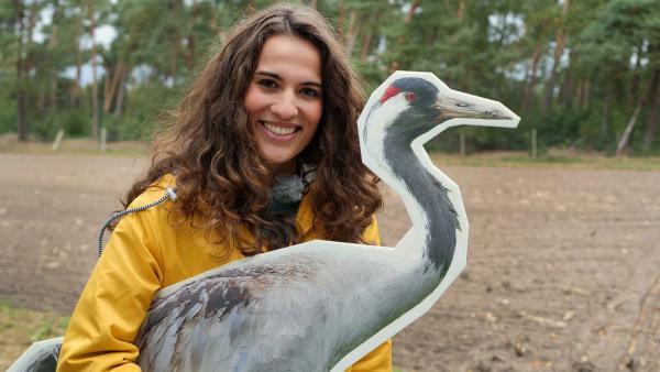 Reporterin Mona geht auf die Suche nach Kranichen in der Diepholzer Moorniederung. | Rechte: WDR/tvision