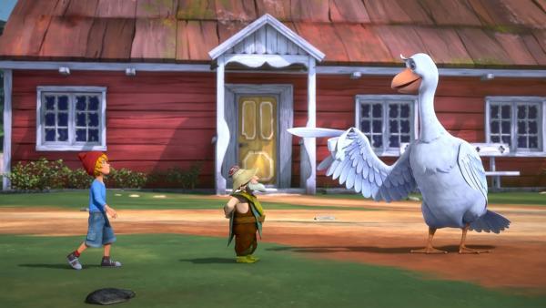 Der Elf schrumpft Nils auf Elfengröße. Als Winzling kann er plötzlich mit den Tieren sprechen. | Rechte: BR/Studio 100 Animation/Studio 100 NV