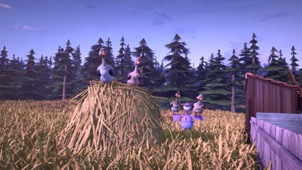 Die Wildgänse machen Rast bei einem Bauernhof. | Rechte: BR/Studio 100 Animation/Studio 100 NV