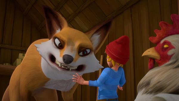 Wie soll der geschrumpfte Nils nur den fiesen Fuchs Smirre in die Flucht schlagen? | Rechte: BR/Studio 100 Animation/Studio 100 NV
