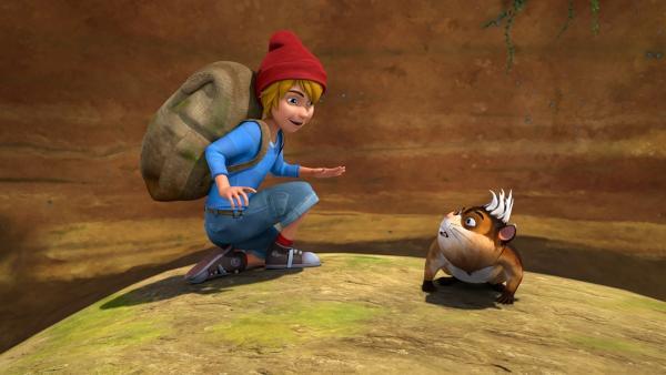 Nils und der Lemming können zwar nicht miteinander sprechen, aber sie finden einen Weg, sich zu verstehen. | Rechte: BR/Studio 100 Animation/Studio 100 NV