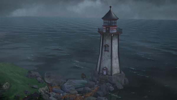 Vielleicht kann der Leuchtturm als sicherer Unterschlupf für Nils und die Wildgänse dienen. | Rechte: BR/Studio 100 Animation/Studio 100 NV