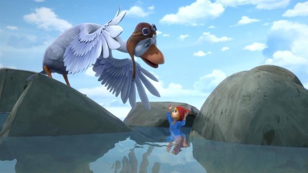 Nils' Fuß steckt zwischen zwei Steinen fest.   Rechte: BR/Studio 100 Animation/Studio 100 NV