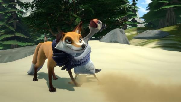 Akka fühlt sich zu schwach, um sich gegen den hungrigen Smirre durchzusetzen.   Rechte: BR/Studio 100 Animation/Studio 100 NV