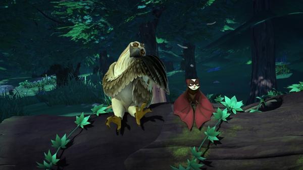 Als Gorgo statt Akka eine Fledermaus neben sich sitzen sieht, ist ihm klar: Das muss Akka sein. Das Nordlicht hat sie in Fleder-Akka verwandelt. | Rechte: BR/Studio 100 Animation/Studio 100 NV