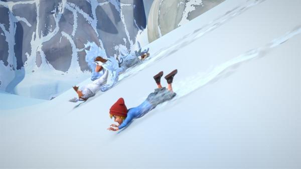 Flügelschön, Martin und Nils stürzen ab und schlittern direkt auf eine Gletscherspalte zu. | Rechte: BR/Studio 100 Animation/Studio 100 NV