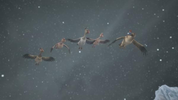 Trotz Schneesturm machen sich Nils und die Gänse auf die Suche nach Martin. | Rechte: BR/Studio 100 Animation/Studio 100 NV