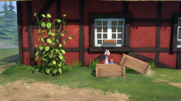 Martin und Nils legen einen Zwischenstopp ein, um auf einem Bauernhof Lebkuchen zu essen. | Rechte: BR/Studio 100 Animation/Studio 100 NV