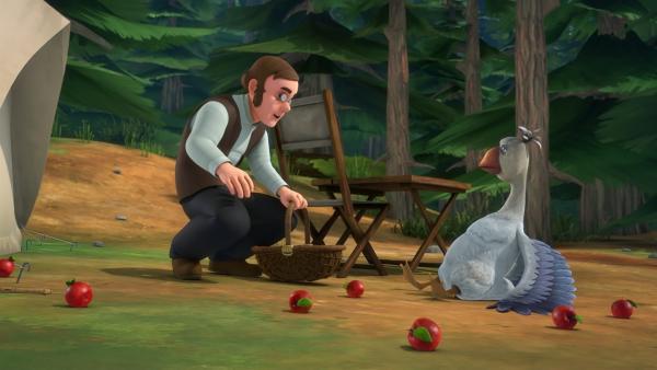 Im Wald stößt Akka auf einen freundlichen Vogelforscher. | Rechte: BR/Studio 100 Animation/Studio 100 NV