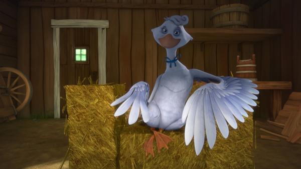 Die Hausgans Jessica hat Nils und Martin zu sich in die Scheune gelockt. | Rechte: BR/Studio 100 Animation/Studio 100 NV