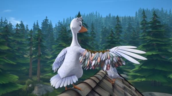 Jessicas Flügel wurden vom Bauern gestutzt, damit sie nicht wegfliegen kann. Doch Nils hat eine Idee, wie Jessica trotzdem entkommen kann. | Rechte: BR/Studio 100 Animation/Studio 100 NV