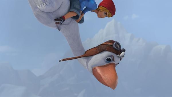 Nils und Martin sind im Sturzflug unterwegs auf der Suche nach Gorgo. | Rechte: BR/Studio 100 Animation/Studio 100 NV