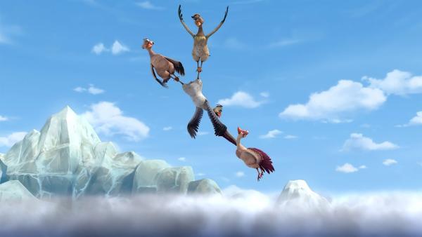Die Gänse haben keine Kraft mehr und versuchen, sich gegenseitig am Himmel zu halten. | Rechte: BR/Studio 100 Animation/Studio 100 NV
