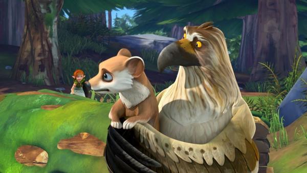 Gorgo ruft Lina zur Hilfe, da Nils verschwunden ist.   Rechte: BR/Studio 100 Animation/Studio 100 NV