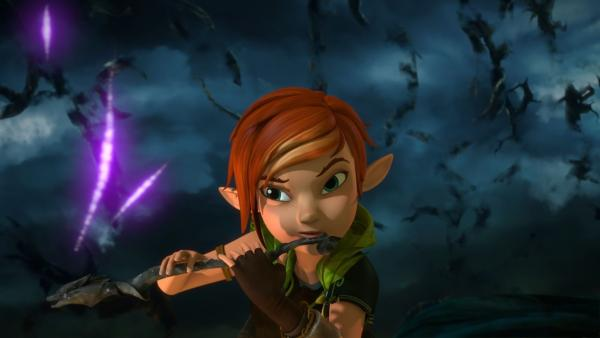 Lina kommt, um Nils im Kampf gegen den Dunklen Elfen zu helfen.   Rechte: BR/Studio 100 Animation/Studio 100 NV