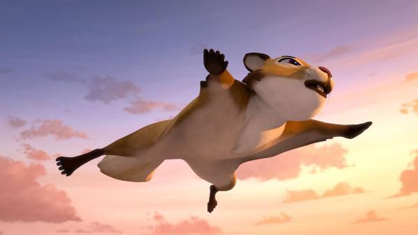 Nils entdeckt ein Flughörnchen, das ohne Flügel fliegen kann. | Rechte: BR/Studio 100 Animation/Studio 100 NV