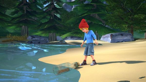 Nils findet eine Flaschenpost am Strand. | Rechte: BR/Studio 100 Animation/Studio 100 NV