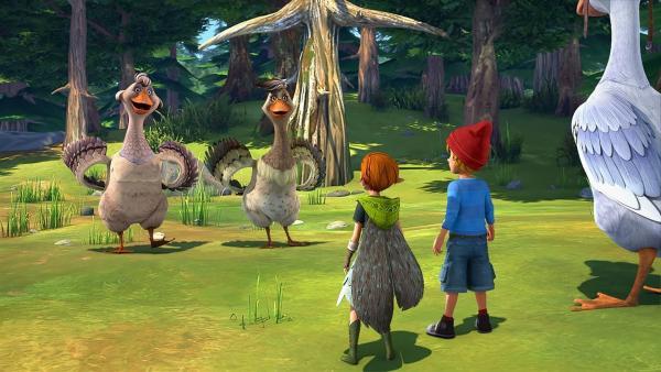 Goldauge und Flügelschön wollen auch zum Elfenfest kommen. | Rechte: BR/Studio 100 Animation/Studio 100 NV