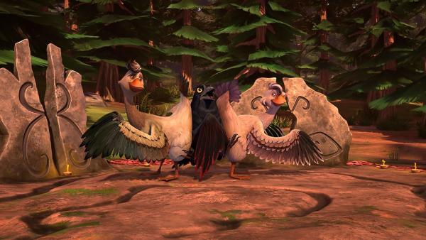Mit ihrer hemmungslosen Tanzeinlage retten Goldauge und Flügelschön den Tag. | Rechte: BR/Studio 100 Animation/Studio 100 NV