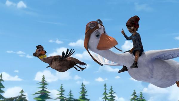Nils und Martin fliegen mit Goldauge zu einer heißen Quelle, damit sie sich dort baden kann. | Rechte: BR/Studio 100 Animation/Studio 100 NV