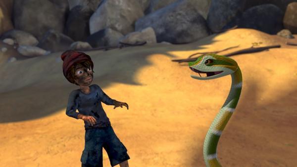 Sansa, die Schlange, lebt bei der heißen Quelle. Sie kann es nicht zulassen, dass jemand ihr oder dem Wasser zu nahe kommt. | Rechte: BR/Studio 100 Animation/Studio 100 NV