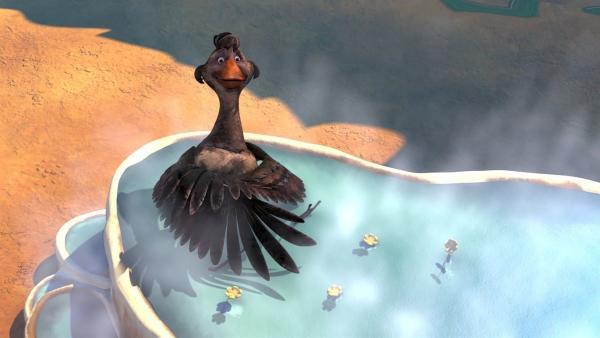 Sie haben es geschafft. Trotz aller Hindernisse kann Goldauge ein Bad nehmen und sich den Getsank von den Federn rubbeln. | Rechte: BR/Studio 100 Animation/Studio 100 NV