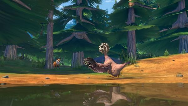 Mit dem Schnabelball auf dem Kopf ist Goldauge wehrlos gegen Smirre. | Rechte: BR/Studio 100 Animation/Studio 100 NV