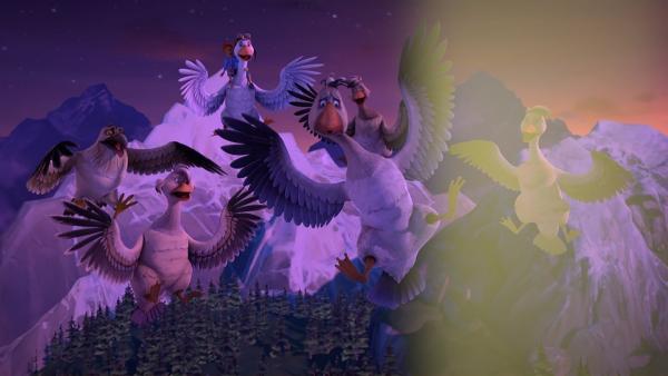 Die Gänseschar wird beim Fliegen von einer Gruppe Jäger überrascht, die auf sie zielen. | Rechte: BR/Studio 100 Animation/Studio 100 NV