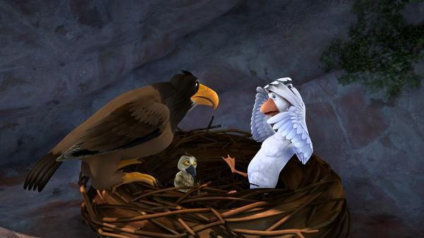 Theodors Vater fragt sich, was Martin bei seinem Sohn im Nest sucht.   Rechte: BR/Studio 100 Animation/Studio 100 NV
