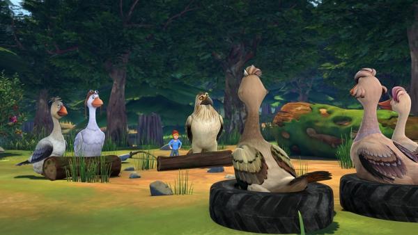 Martin und Akka treten in der Prüfung gegen Nils und Gorgo an. | Rechte: BR/Studio 100 Animation/Studio 100 NV