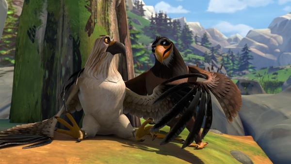 Freddy erklärt Gorgo, dass er ein Adler ist. | Rechte: BR/Studio 100 Animation/Studio 100 NV