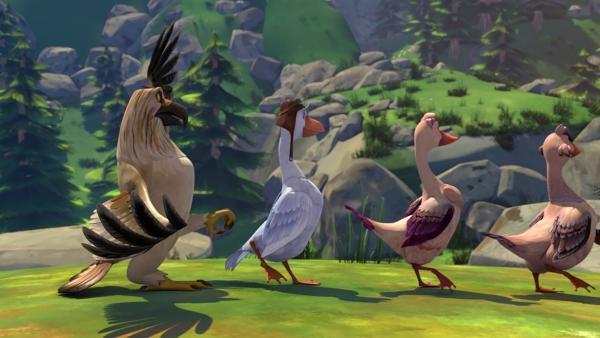 Das Training zur Wildgans hilft nichts. Gorgo denkt, dass er ein Adler ist. | Rechte: BR/Studio 100 Animation/Studio 100 NV
