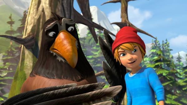 Nachdem Freddy mit Gorgo zusammengestoßen ist, glaubt er ein Storch zu sein. | Rechte: BR/Studio 100 Animation/Studio 100 NV