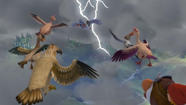 Der furchtlose Tristan führt die Schar mitten in ein gefährliches Gewitter. | Rechte: BR/Studio 100 Animation/Studio 100 NV