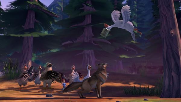 Ohne recht zu wissen, was er tut, schlägt Tristan einen Wolf in die Flucht. | Rechte: BR/Studio 100 Animation/Studio 100 NV