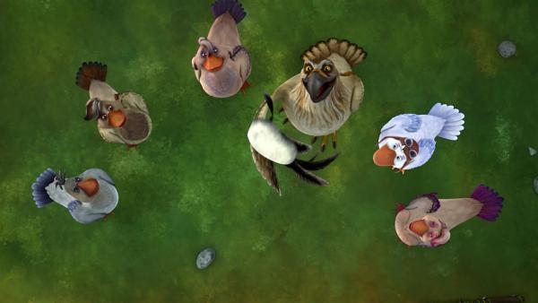 Gorgo ist begeistert von der Weisheit des Steins und befragt ihn künftig bei allen Fragen, die sich der Schar stellen. | Rechte: BR/Studio 100 Animation/Studio 100 NV