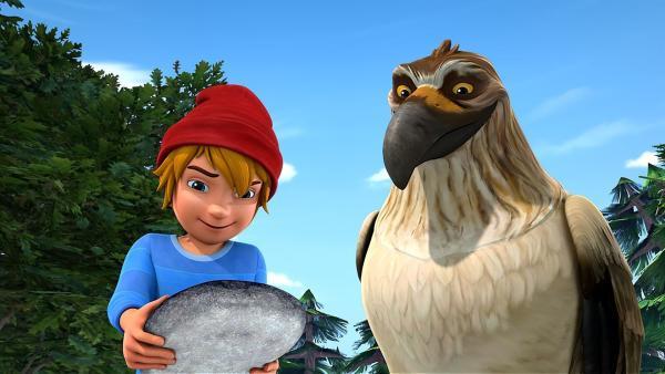 Gorgo und Nils finden einen Stein mit einer schwarzen und einer weißen Seite.   Rechte: BR/Studio 100 Animation/Studio 100 NV
