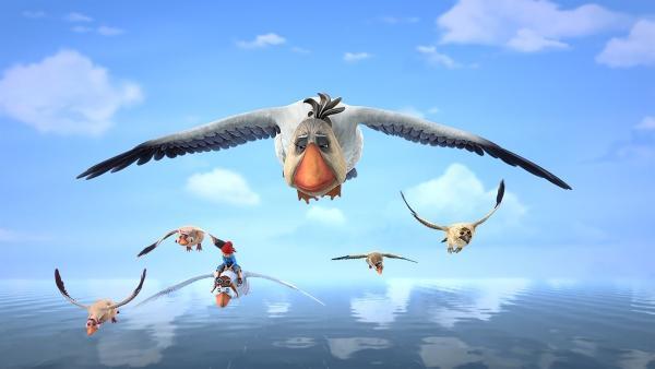 Akka schläft beim Fliegen ein. Ist sie zu alt, um die Schar zu führen? | Rechte: BR/Studio 100 Animation/Studio 100 NV