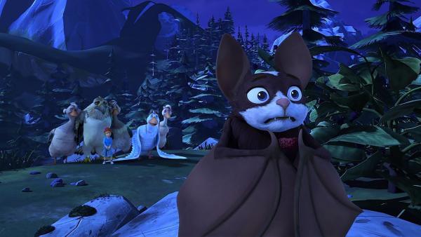 Die Fledermaus ist verblüfft: Sie soll den Gänsen helfen, die richtige Route zu finden? | Rechte: BR/Studio 100 Animation/Studio 100 NV