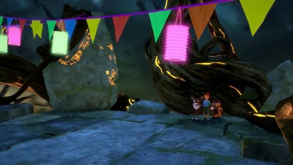 Unter dem Baum sieht es verdächtig nach dem Reich des Dunklen Elfen aus. | Rechte: BR/Studio 100 Animation/Studio 100 NV