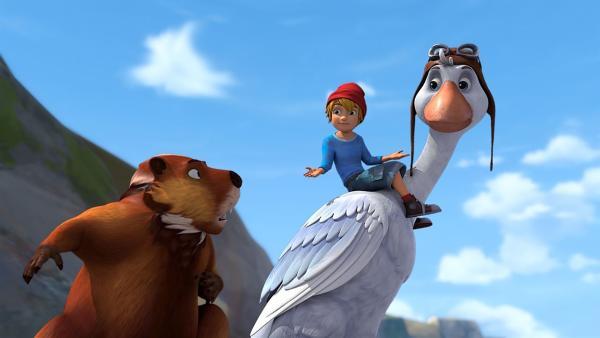 Nils verspricht Nestor, ihn mit Hilfe der Gänse zur Biberinsel zu bringen. | Rechte: BR/Studio 100 Animation/Studio 100 NV