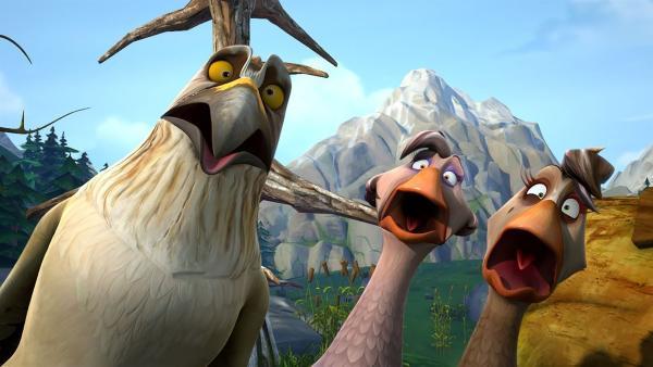 So wie sich das für Wildgänse gehört, hat auch Gorgo schreckliche Angst vor Adlern. | Rechte: BR/Studio 100 Animation/Studio 100 NV