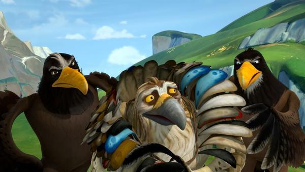 Gorgo gibt vor, der König der Adler zu sein. Wie lange ihm seine beiden Artgenossen wohl glauben können? | Rechte: BR/Studio 100 Animation/Studio 100 NV