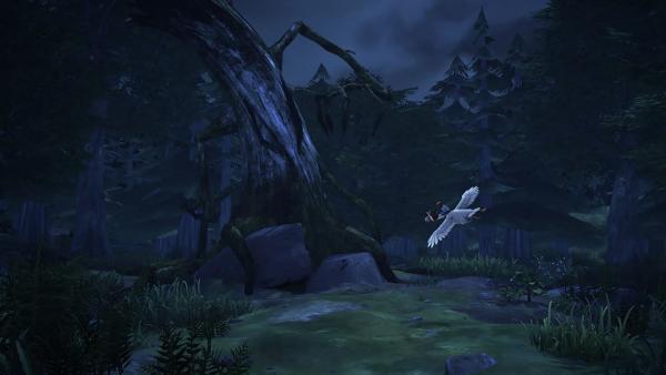 Nils und Martin machen sich in dem gruseligen Wald auf die Suche nach Gorgo und einem geeigneten Unterschlupf für die Nacht. | Rechte: BR/Studio 100 Animation/Studio 100 NV