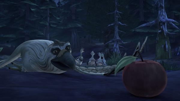 Gorgo folgt einer Spur aus Äpfeln und verschwindet. | Rechte: BR/Studio 100 Animation/Studio 100 NV