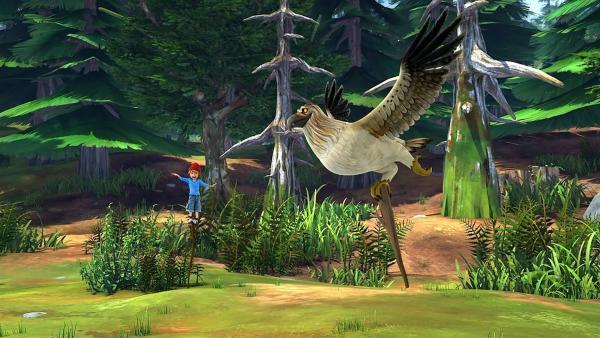 Gorgo trainiert mit Nils seine Balance und seinen Geist.   Rechte: BR/Studio 100 Animation/Studio 100 NV