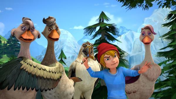 Nils glaubt Krobak kein Wort und zückt seinen Propeller.   Rechte: BR/Studio 100 Animation/Studio 100 NV