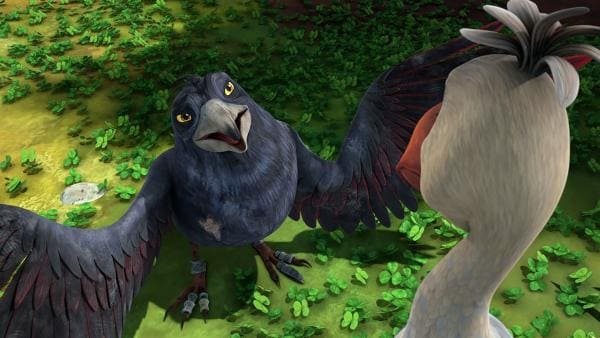 Die geschundene Krähe macht Akka Komplimente. | Rechte: BR/Studio 100 Animation/Studio 100 NV