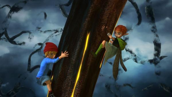 Lisa und Nils wagen sich in das düstere, unterirdische Reich des Dunklen Elfen. | Rechte: BR/Studio 100 Animation/Studio 100 NV